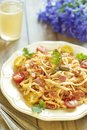 Pasta With Tomatoes, Ham, Capers And Cheese Royalty Free Stock Photography - 33755887