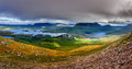 Panoramic View Of Inverpolly Mountains Area In Highlands Of Scot Royalty Free Stock Photography - 33758227