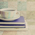 Vintage Coffee And Books Stock Photos - 33803073