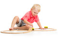 Child Playing Rail Road Toy Royalty Free Stock Photography - 33818667