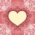 Frame With Lace And Heart Royalty Free Stock Photos - 33834758