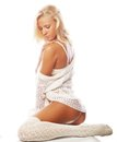 Sensual Blond Girl In White Lingerie And Socks Royalty Free Stock Photography - 33859587