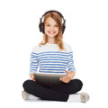 Child With Headphones And Tablet Pc Stock Photography - 33878062