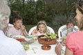 Family At Dining Table In Garden Stock Photo - 33888790