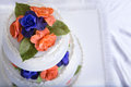 Two Colored Roses Wedding Cake Royalty Free Stock Photography - 33896267