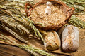 Whole Grains Buns And A Basket With Cereals Royalty Free Stock Photography - 33910307