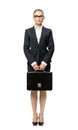 Full-length Portrait Of Business Woman With Leather Case Stock Photography - 33920572