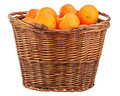 Oranges In Wicker Basket Isolated On White. Stock Image - 33933661