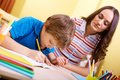 Schoolwork With Mother Stock Image - 33942801