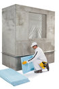 Worker Setting Up An Insulation Panel Stock Photos - 33942853
