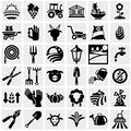 Farm And Agriculture Vector Icons Set On Gray Royalty Free Stock Photos - 33947858