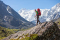 Hiker Near Belukha Mountain, The Highest In Siberia Stock Photography - 33962952