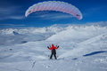 Sky Gliding In Snowy Caucasus Mountains Stock Images - 33963374