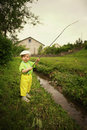Photo Of Little Boy Fishing Royalty Free Stock Photo - 33988285