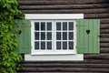 Cottage Window Shutters Decorated With Hearts. Sweden Royalty Free Stock Images - 33993669