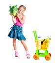 Girl With A Basket Of Products Royalty Free Stock Images - 33997599