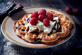 Sweet And Delicious Waffles With Fruits Stock Photography - 33997812