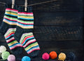 Pair Of Colorful Striped Woolen Socks Royalty Free Stock Image - 33999596