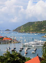 Aerial View At Gustavia Harbor With Mega Yachts At St Barts, French West Indies Stock Photos - 34006443