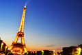 The Eiffel Tower In Paris, France By Night Stock Images - 34008544