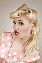 Pin-up Style Portrait Of Surprised Girl Stock Photos - 34011623