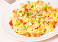 Scrambled Eggs With Ham And Vegetables Royalty Free Stock Images - 34011769
