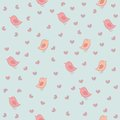 Seamless Pattern With Birds And Hearts. Stock Photos - 34015623