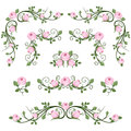 Vintage Calligraphic Vignettes With Pink Roses. Stock Image - 34021231