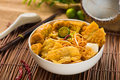 Chopstick And Laksa Curry Noodles With Plenty Of Raw Ingredients Stock Image - 34025171