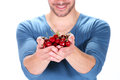 Man With Cherry Royalty Free Stock Photos - 34039858