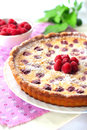 Almond Tart With Raspberries Stock Photos - 34046173