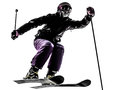 One Woman Skier Skiing Jumping Silhouette Royalty Free Stock Photos - 34046468
