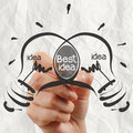 Hand Drawing Light Bulb Best Idea With Crumpled Paper Royalty Free Stock Photo - 34055415