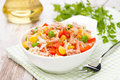Colorful Salad With Corn, Green Peas, Rice, Red Pepper And Tuna Royalty Free Stock Image - 34056376