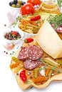 Italian Food - Cheese, Sausage, Pasta, Spices, Tomatoes Stock Photos - 34056743