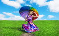 Pretty Girl With Colorful Umbrella Resting On The Road Royalty Free Stock Photography - 34058487