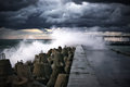 Breakwater At Storm Royalty Free Stock Photos - 34062558