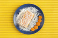 Carrot And Coconut Cake On Yellow Surface Royalty Free Stock Photo - 34074725