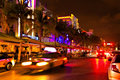 Drive Scene At Night Lights, Miami Beach, Florida. Royalty Free Stock Images - 34080209
