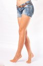 Legs And Jeans Shorts Royalty Free Stock Photos - 34096178