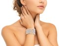 Beautiful Woman With Pearl Earrings And Bracelet Stock Photos - 34105283