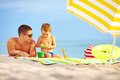 Happy Father And Child Playing On The Beach Stock Images - 34119464