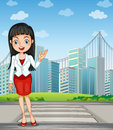A Pretty Woman Presenting The Tall Buildings Royalty Free Stock Photography - 34133917