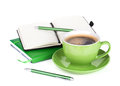 Green Coffee Cup And Office Supplies Stock Photos - 34140783