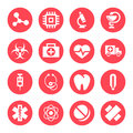 Medical Monochrome Red Icons Stock Photo - 34161220