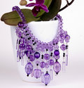 Purple Coloured Beaded Necklace Stock Images - 34162244