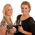 Toast - Two Girls With Glass Of Wine Stock Photos - 34178383
