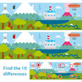 Kids Puzzle Of A Lake And Mountains Difference Royalty Free Stock Image - 34194436