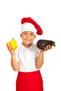 Child Chef Hold Eggplant And Pepper Stock Images - 34203024