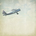 Vintage Cloudy Background With Plane Royalty Free Stock Image - 34206166